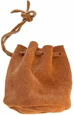 Ball Bag, suede leather, flat bottom with draw string for lead balls