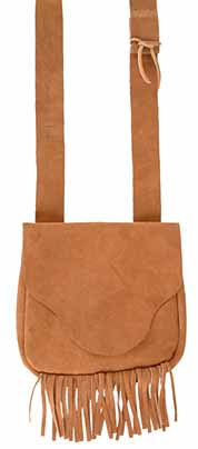 "Possibles bag, suede leather, 9"" by 9"", semi-beaver tail flap, fringed"