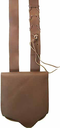 "Possibles bag, fine leather, 9"" by 9"", uncut ""primitive"" flap"
