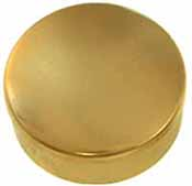 "Cap box, 1-3/4"" diameter, polished brass, made in the U.S.A."