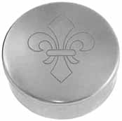 "Cap box, 1-3/4"" diameter, embossed ""fleur-de-lis"" engraving, polished nickel silver, made in the U.S.A."