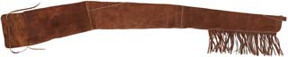 "Gun case, fringed brown imported suede leather, accepts rifles up to 53"" long"