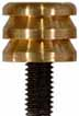 Button jagged cleaning tip, .44 caliber, brass, 10-32 thread
