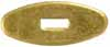 "Oval Knife Guard #4, 5/8"" wide by 1-1/2"" long, 1/8"" thick, large rectangular slot 3/16"" wide by 1/2"" long, brass"