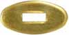 "Oval Knife Guard #6, 9/16"" wide by 1-3/32"" long,, 1/16"" thick, small rectangular slot 1/8"" wide by 3/8"" long, brass"