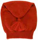Tube shaped knitted liberty hat, cherry red