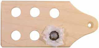 "Loading block, for .58 caliber patched round ball, 5 by 2-3/8"" maple, sanded, unfinished"