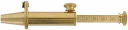 Powder measure, brass, adjustable 0 to 50 grains, with spout