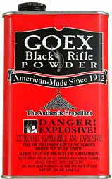 Black powder, GOEX, 1 pound, made in the USA, CANNON extra coarse granulation, for cannon bores over 1 inch. Shipped in full cases, 25 one pound cans, any mix of granulations, any mix of brands. Due to high demand expect 90+ days for delivery from time of order!