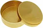 "Snuff box, 2-3/4"" round, polished brass, made in the U.S.A."